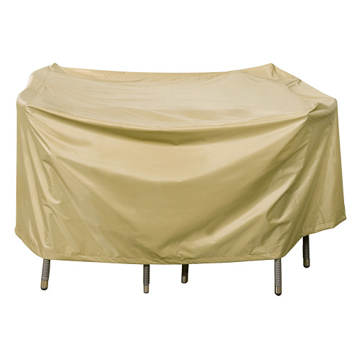 Heavy Duty Square Table Cover with PVC Coating, fit up to 49L x 49W x 28H inches, Beige