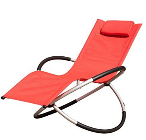Orbital Zero Gravity Folding Rocking Patio Lounge Chair With  Pillow,Capacity 250 Pounds,Red