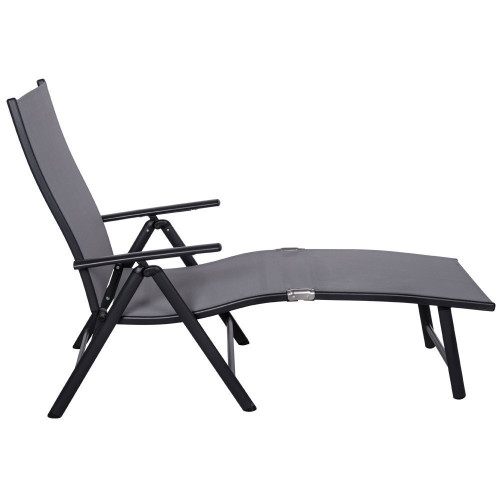 Deluxe Aluminum Beach Yard Pool Folding Chaise Lounge Chair Recliner  Outdoor Patio