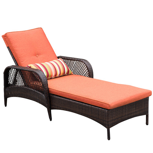Luxury Reclining Brown Wicker Chaise Lounge Chair Outdoor Patio Yard Furniture All-weather with Cushions and Pillow