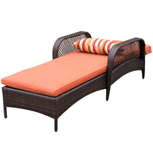 Charmant Luxury Reclining Brown Wicker Chaise Lounge Chair Outdoor Patio Yard Furniture  All Weather With Cushions And Pillow