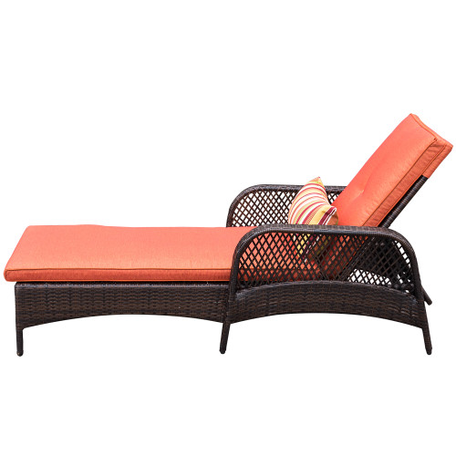 Luxury Reclining Brown Wicker Chaise Lounge Chair Outdoor Patio Yard Furniture  All Weather With Cushions And Pillow