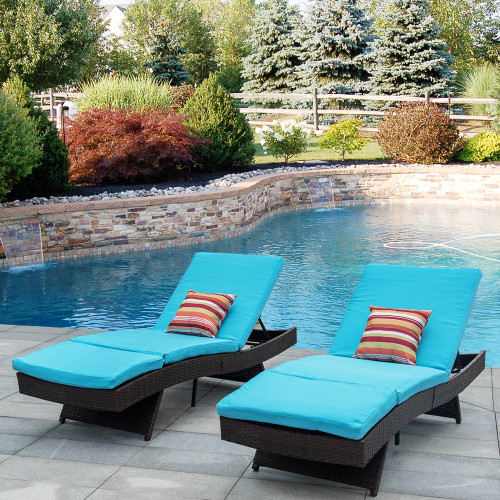 2PCS Deluxe Patio Adjustable Wicker Chaise Lounge Set with Cushions and 2 Throw Pillows