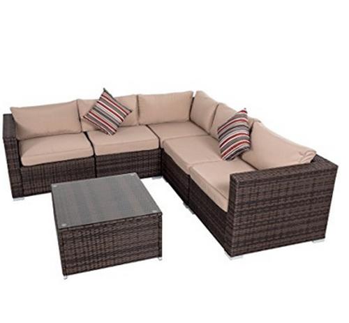 6 Pieces Wicker Patio Garden Furniture Sectional Sofa Set