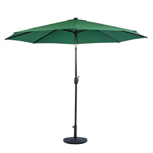9 Feet Aluminum Patio Umbrella with Crank and Push Button Tilt, 8 Steel Ribs (Dark Green)