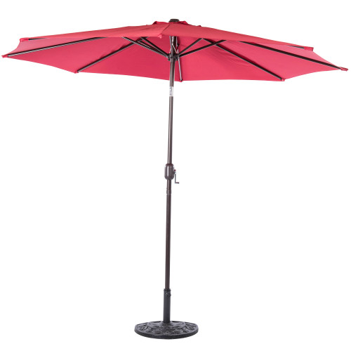 9 Feet Aluminum Patio Umbrella with Crank and Push Button Tilt, 8 Steel Ribs (Red)