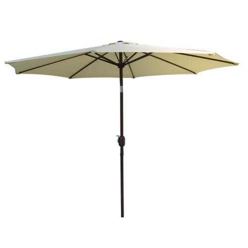 9 Feet Aluminum Patio Umbrella with Crank and Push Button Tilt, 8 Steel Ribs (Light Yellow)