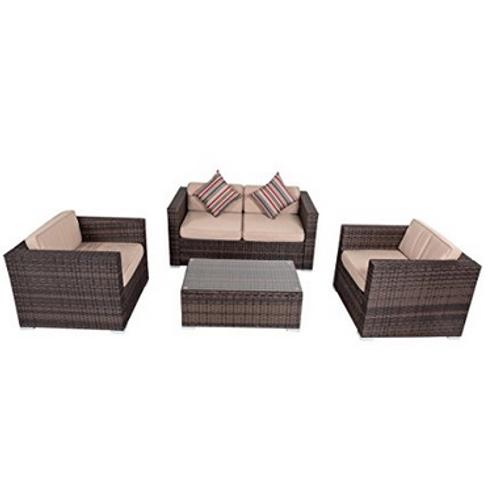 4-piece Wicker Garden Patio Furniture Sofa Set