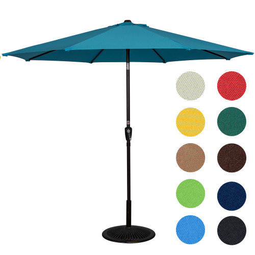 9 Feet Aluminum Patio Umbrella with Crank and Push Button Tilt, 8 Steel Ribs (Turquoise)