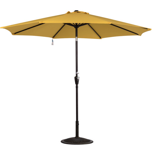 10 Feet Aluminum Patio Umbrella with Crank and Push Button Tilt, 8 Steel Ribs (Yellow)