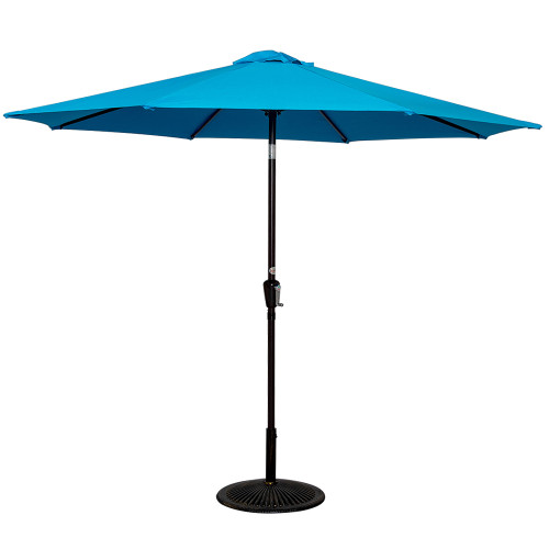 10 Feet Aluminum Patio Umbrella with Crank and Push Button Tilt, 8 Steel Ribs (Lake Blue)