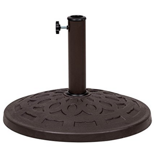 Universal Resin Patio Umbrella Base Metal Heavy Duty Stand, Bronze Finish,  19.4 In Diameter, 31 Lbs