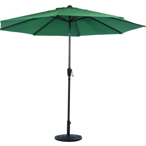 9 Feet Outdoor Aluminum Patio Umbrella with Auto Tilt and Crank, 8 Alu. Ribs, 100% Polyester (Dark Green)
