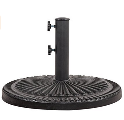 Patio Umbrella Base Black Resin Heavy Duty Stand With 2 Hand Turn Knobs, 31