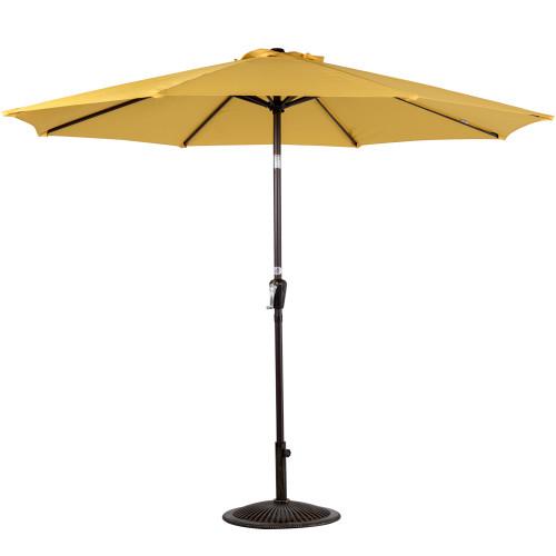 10 Feet Outdoor Aluminum Patio Umbrella with Auto Tilt and Crank(Yellow)