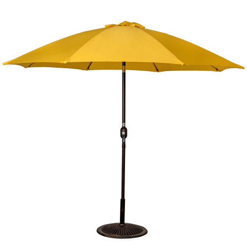 9 Feet Aluminum Patio Umbrella with Crank and Push Button Tilt(Yellow)