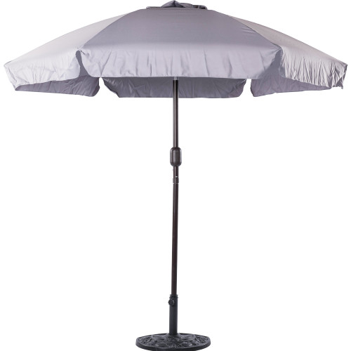 7.5 Feet Aluminum Beach Drape Umbrella with Crank and Push Button Tilt(Grey)