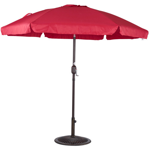 7.5 Feet Aluminum Beach Drape Umbrella with Crank and Push Button Tilt(Red)