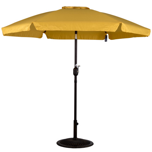 7.5 Feet Aluminum Beach Drape Umbrella with Crank and Push Button Tilt(Yellow)