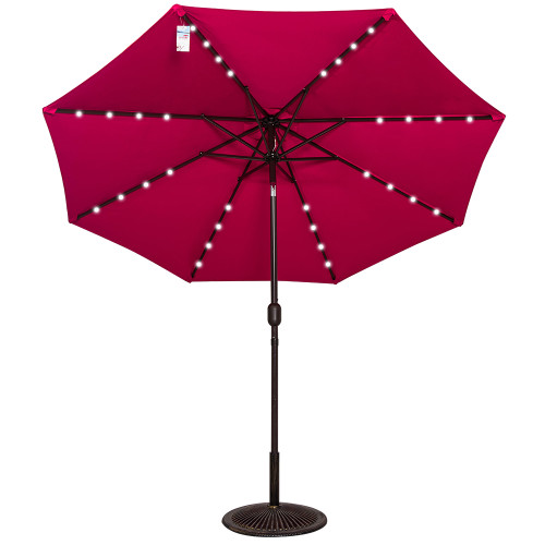 Solar Powered 32 LED Lighted Outdoor Patio Umbrella with Crank and Tilt, 9 Feet, Red