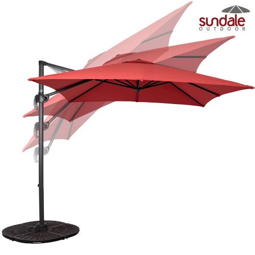 8.2ft Square Hanging Roma Offset Umbrella Outdoor Patio Sun Shade Cantilever Crank Canopy (Brick Red)