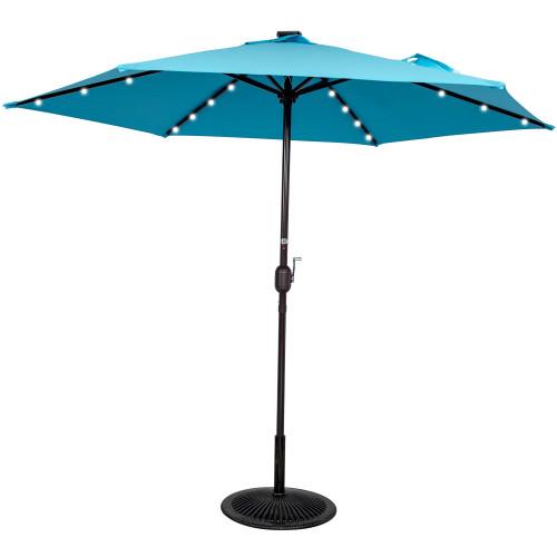 9ft 24 Led Light Outdoor Market Patio Umbrella Garden Pool with Crank, 6 Ribs (Light Blue)