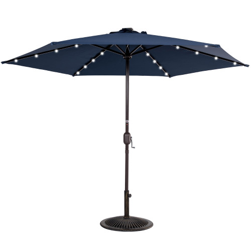 9ft 24 Led Light Outdoor Market Patio Umbrella Garden Pool with Crank, 6 Ribs (Navy Blue)