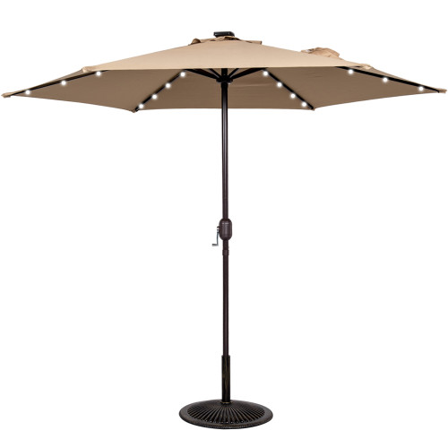 9ft 24 Led Light Outdoor Market Patio Umbrella Garden Pool with Crank, 6 Ribs (Khaki)