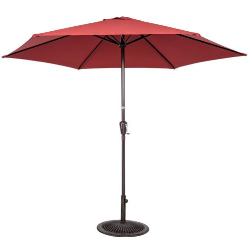 10FT Patio Umbrella Patio Market Steel With Crank Outdoor Yard Garden (Brick Red)
