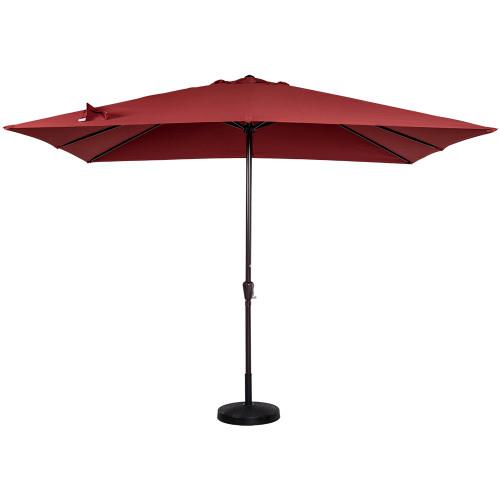 8x11 Ft Rectangular Patio Garden Outdoor Umbrella with Crank, 220g Polyester (Brick Red)