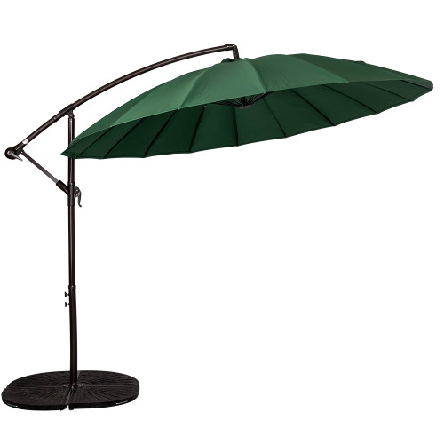 9 Feet Offset Patio Umbrella with Crank, 18 Fiberglass Ribs (Dark Green)