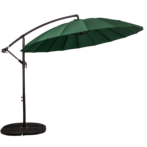 9 Feet Offset Patio Umbrella With Crank, 18 Fiberglass Ribs (Dark Green)