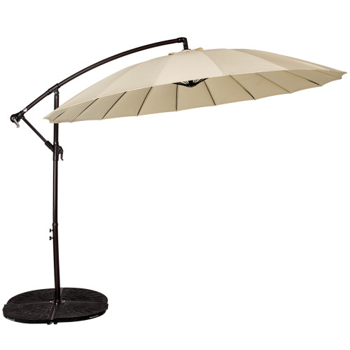 9 Feet Offset Patio Umbrella With Crank, 18 Fiberglass Ribs (Light Yellow)