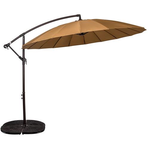 9 Feet Offset Patio Umbrella with Crank, 18 Fiberglass Ribs (Tan)