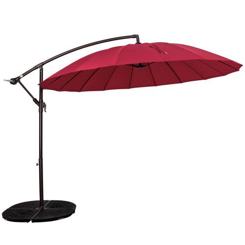 9 Feet Patio Offset Umbrella with Crank and 18 Fiberglass Ribs (Red)