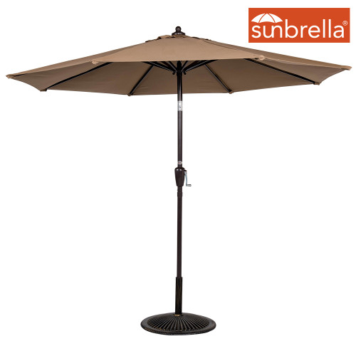 8.2 Ft Sunbrella® acrylic Patio Garden Outdoor Market Umbrella,Push Button Tilt and Crank (Camel)