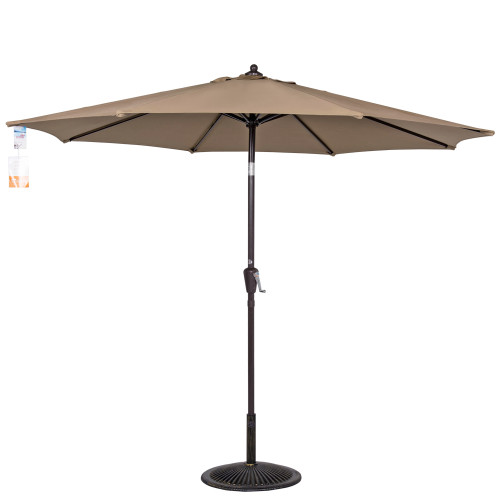 9 Ft Sunbrella® Fabric Patio Garden Outdoor Market Umbrella ,Push Button Tilt and Crank (Camel)