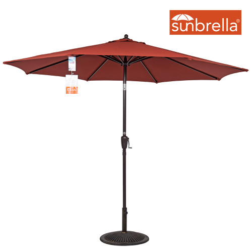 9 Ft Sunbrella® Fabric Patio Garden Outdoor Market Umbrella ,Push Button Tilt and Crank (Terracotta)