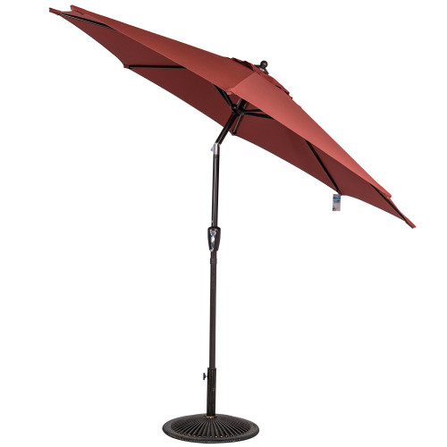 8.2 Ft Olefin Fabric Solution Dyed and UV Resistant Patio Garden Outdoor Market Umbrella with Auto Tilt and Crank, Burgundy