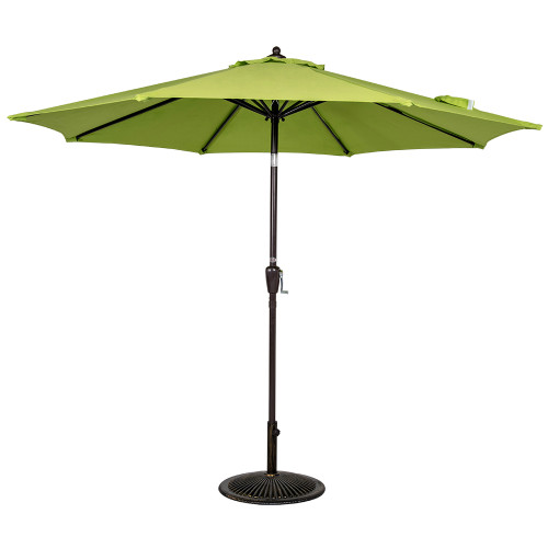 9 Ft Olefin Fabric Solution Dyed and UV Resistant Patio Garden Outdoor Market Umbrella with Auto Tilt and Crank (Apple Green)