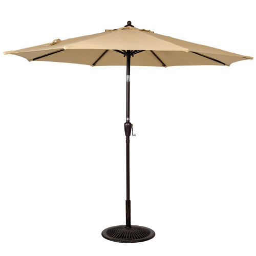 Uv Patio Umbrella: 9 Ft Olefin Fabric Solution Dyed And UV Resistant Patio