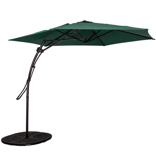 10 Feet Offset Patio Umbrella with Hand Push, 6 Steel Ribs (Dark Green)