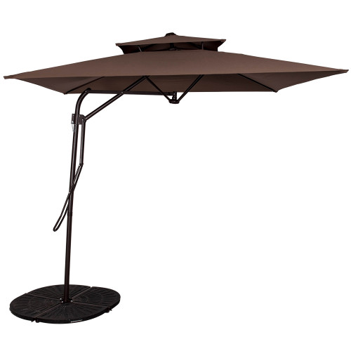 8.2Ft Rectangular Patio Offset Umbrella With Strong Sturdy Double Canopy  Construction And Hand Push, 4 ...