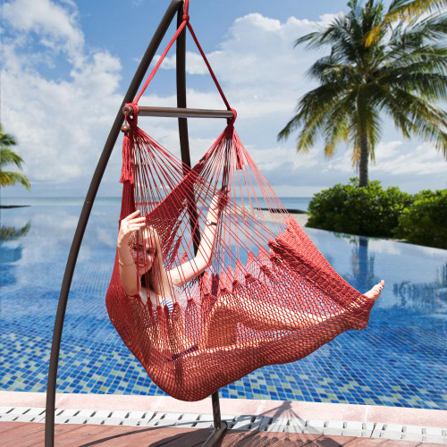 Lazy Daze Hammocks Caribbean Hanging Swing Chair, Soft Spun Polyester Rope, 47-inch Wood Spreader Bar, Weight Capacity 300 Pounds (Red)