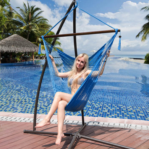 Lazy Daze Hammocks Caribbean Hanging Swing Chair, Soft Spun Polyester Rope, 47-inch Wood Spreader Bar, Weight Capacity 300 Pounds (Royal Blue)