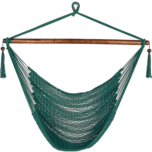 Lazy Daze Hammocks Caribbean Hanging Swing Chair, Soft Spun Polyester Rope, 47-inch Wood Spreader Bar, Weight Capacity 300 Pounds (Forest Green)