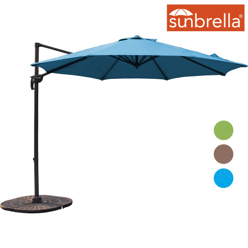 Sundale Outdoor 10ft Sunbrella® Fabric Offset Hanging Umbrella Market Patio Umbrella Aluminum Cantilever Pole with Crank Lift, Corss Frame, 360°Rotation, for Garden, Deck, Backyard (Sky Blue)