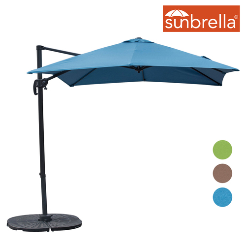 Sundale Outdoor 8.2ft Square Sunbrella® Fabric Offset Hanging Umbrella Market Patio Umbrella Aluminum Cantilever Pole with Crank Lift, Corss Frame, 360°Rotation, for Garden, Deck, Backyard (Sky Blue)