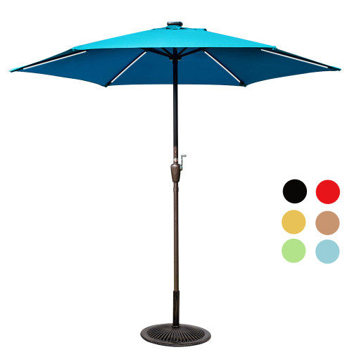 Deluxe Solar Powered LED Stripe Lighted Outdoor Patio Market Umbrella with Crank, 9Feet(Lake Blue)