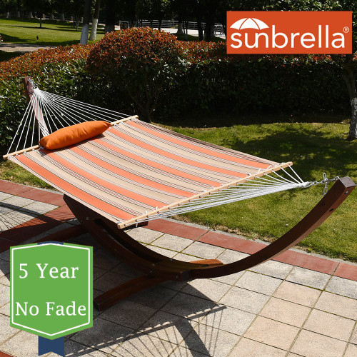 Sunbrella® Fabric Hammock, Pillow and 12 Feet Wood Arc Stand,Backyard Combo Set, Passage Poppy,by Lazy Daze Hammocks